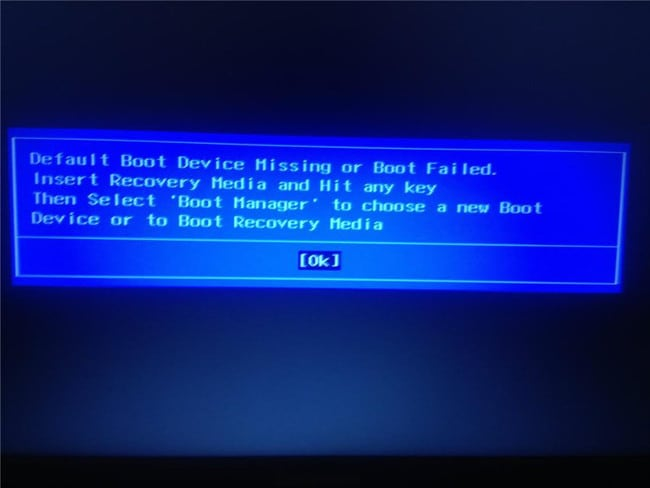 Ошибка при загрузке ноутбука Lenovo