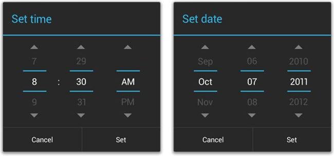 Скрины установки даты и времени