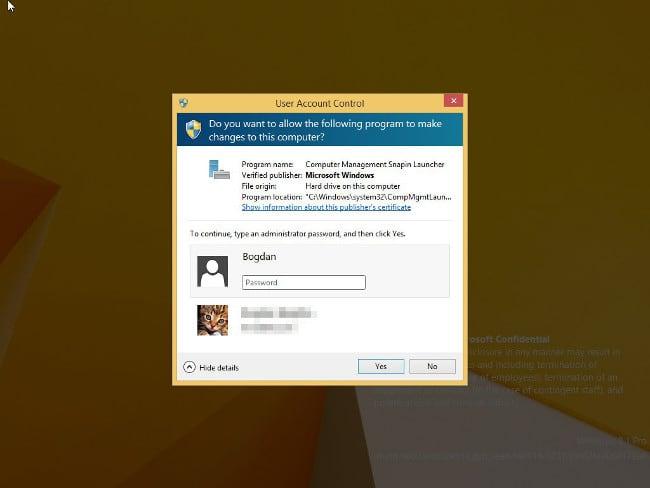 Окно контроля пользовательского аккаунта