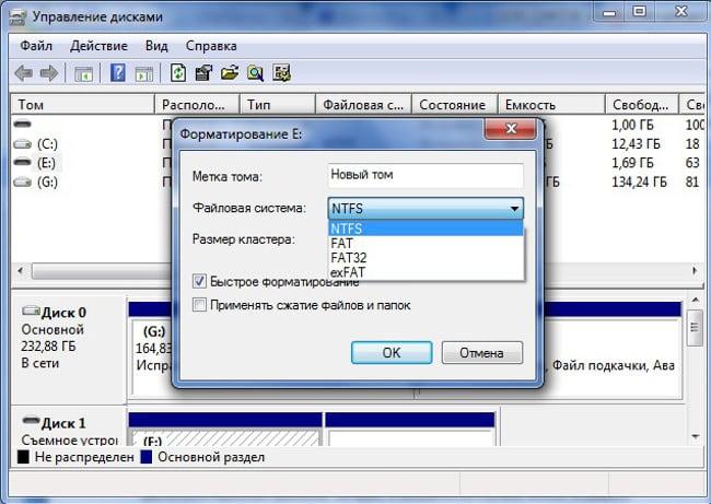 Форматирование дисков в Windows