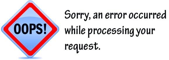 Надпись an error occured