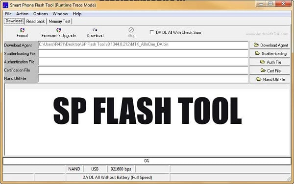Окно SP FLASH TOOL