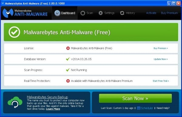Утилита Malwarebytes Anti-Malware