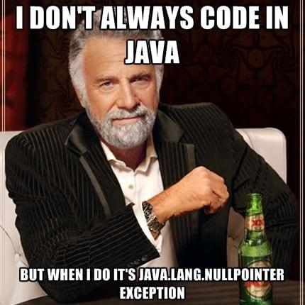 Картинка об ошибке java.lang.nullpointerexception