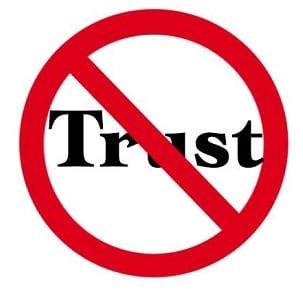 Зачёркнутая надпись Trust