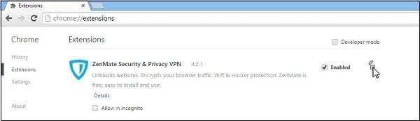 Удалите VPN-расширения вашего браузера