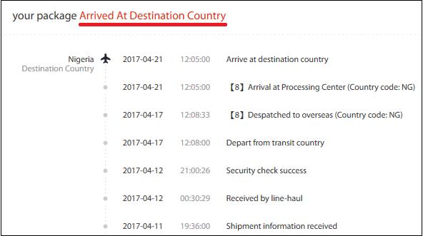"Статус заказа ""Arrived at destination country"""