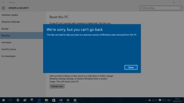 При попытке вернуться к старой версии ОС после удаления папки $WINDOWS.~BT система выдает ошибку