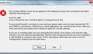 Ошибка Access denied for user 'root'@'localhost' возникает при попытке входа в БД