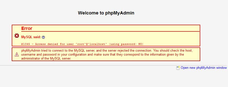 phpMyAdmin использует автоматический ввод пароля, поэтому ошибка сопровождается (Using password: NO)