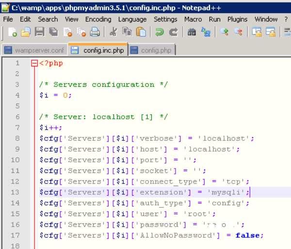 В файле config.inc.php нужно указать правильные логин и пароль