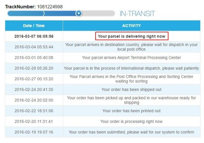 Статус Your parcel is delivering right now