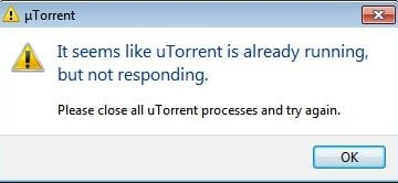 Ошибка Please close all uTorrent processes and try again