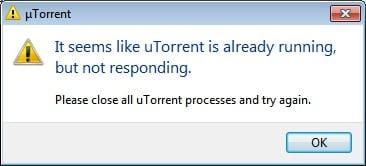 Скиншот ошибки uTorrent