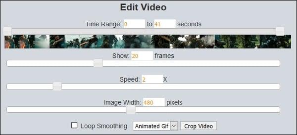 Настройки видео на lunapic.com