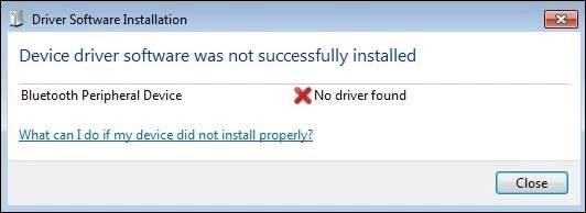 Уведомление об отсутствии драйвера Bluetooth