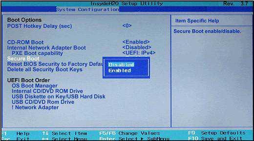 "Деактивируйте в БИОСе опцию ""Secure Boot"""