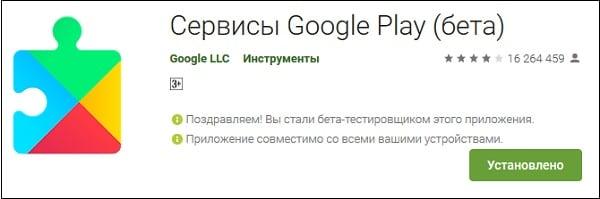 Окно приложения Сервисы Google Play