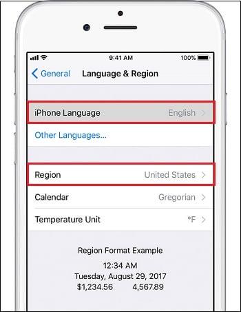 Измените язык и местоположение в настройках девайса