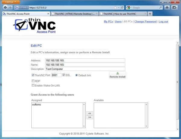 Программа ThinVNC
