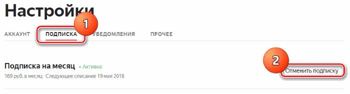 """Раздел """"Подписка"""" на Яндекс"""