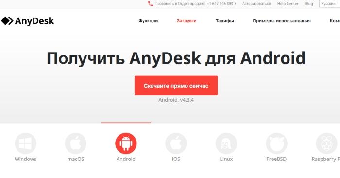Сайт AnyDesk