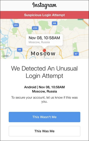 Подозрительный вход в Инстаграм
