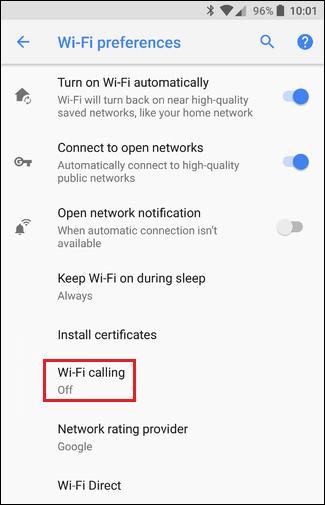 Пункт Wi-Fi calling