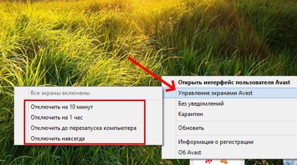 Пункт Управления экранами Avast
