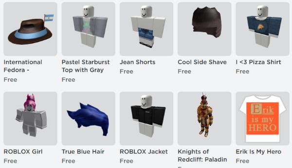 Список бесплатных вещей в Roblox