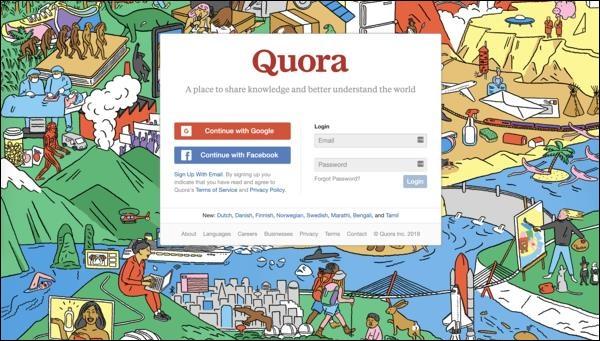 Окно регистрации на Quora