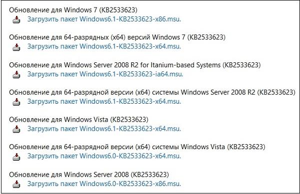 Список обновлений KB2533623