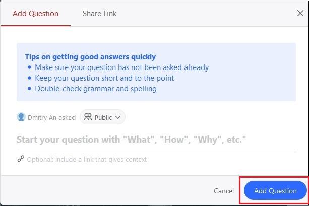 Синяя кнопка Add Question