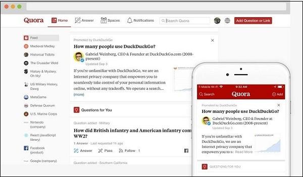 Сайт Quora на компьютере и телефоне