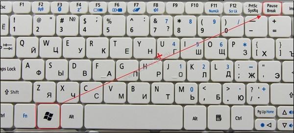 Комбинация клавиш Win+Pause