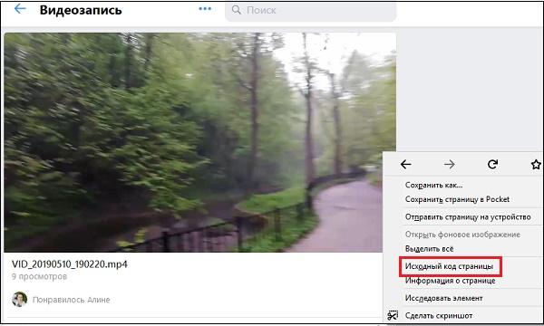 """Опция """"Исходный код страницы"""" в ВК"""