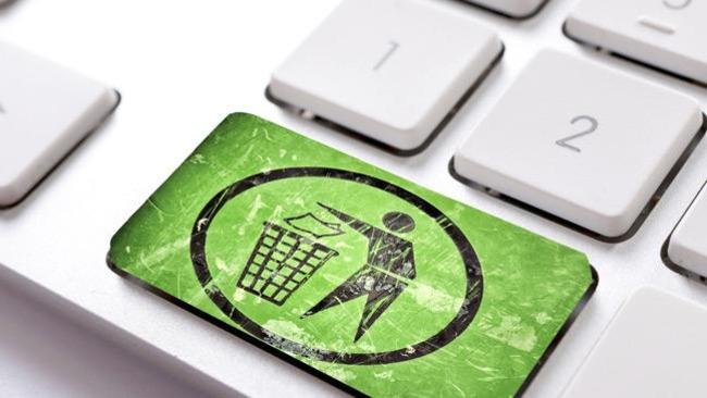 Кнопка с изображённым мусорным ведром