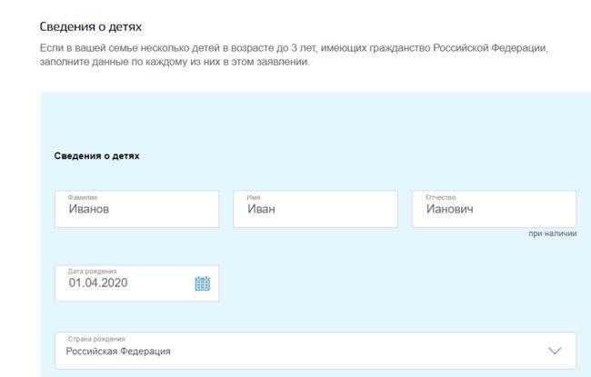 Форма для ввода данных на сайте Госуслуги