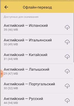 Языки для офлайн перевода