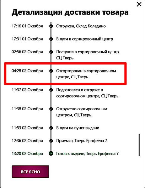 Статус заказа Отсортирован в сортировочном центре