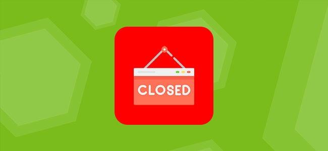 Табличка Closed на лого