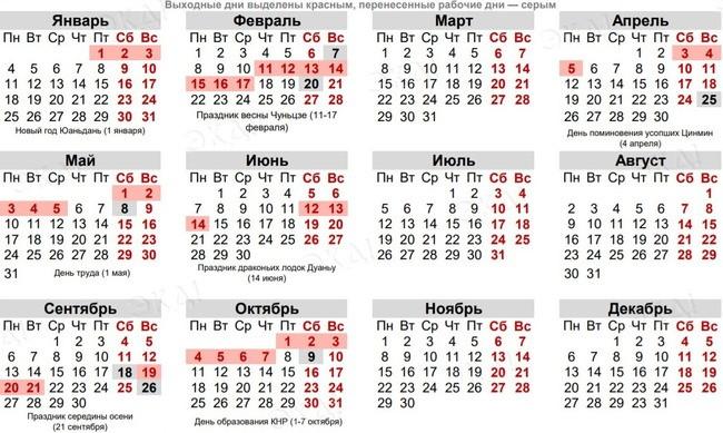 Календарь китайских праздников на 2021 год