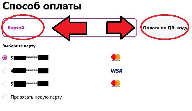 Скриншот с вариантами для оплачивания покупок