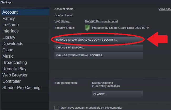 Опция Управление Steam Guard