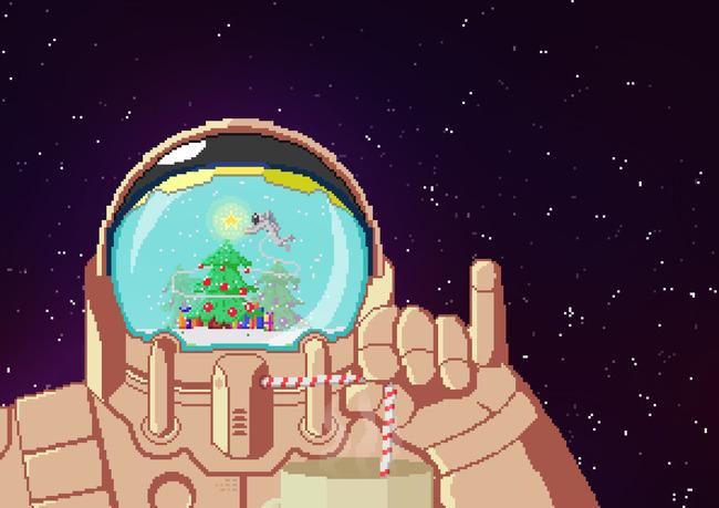 Нарисованный с помощью пиксельной графики космонавт