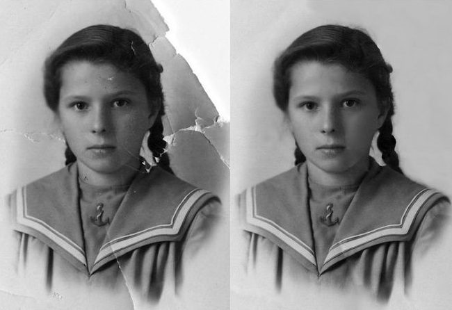 Восстановленный в RetouchPilot портрет девочки