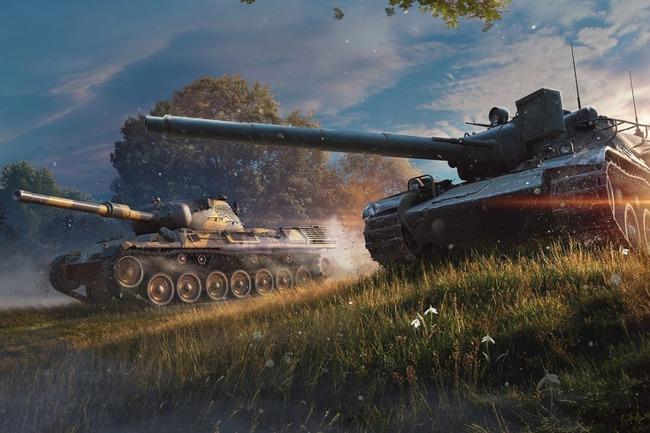 Картинка с танками на фоне неба и травы
