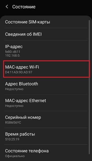 MAC на телефоне
