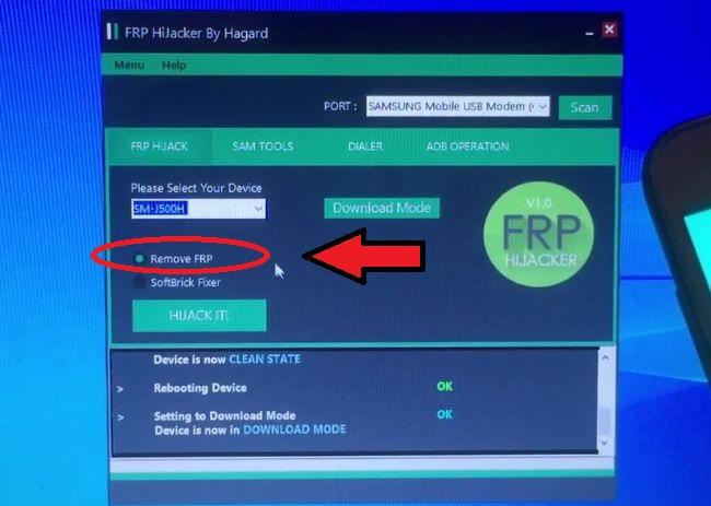 Отметка на строчке Remove FRP