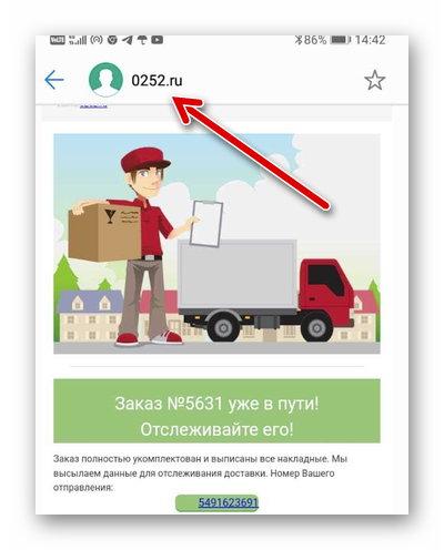 Сообщение о доставке заказа от 0252.ru
